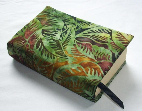Fabric Cover For Book : Cloth book cover jungle batik and hand dyed fabric fits