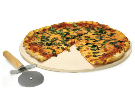 """EPOCA - Kitchen Extras Pizza Stone 15"""" with Wooden Handle Cutter and Recipe Booklet - Ecolution 15 in. Kitchen Extras Pizza Stone with Wooden Handle Cutter"""