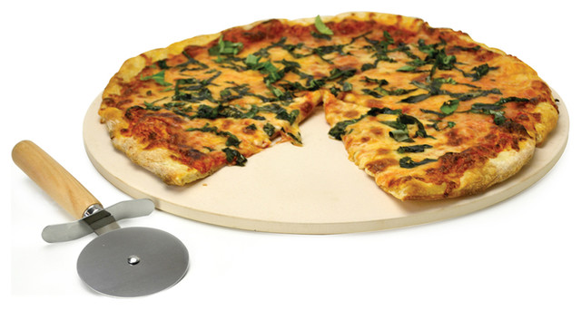 """Kitchen Extras Pizza Stone 15"""" with Wooden Handle Cutter and Recipe Booklet contemporary-pizza-pans-and-stones"""