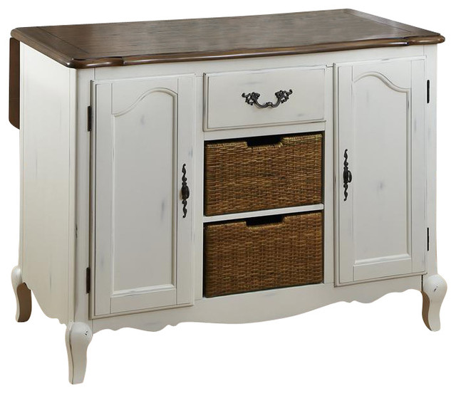 Oak And Rubbed White Kitchen Island Contemporary