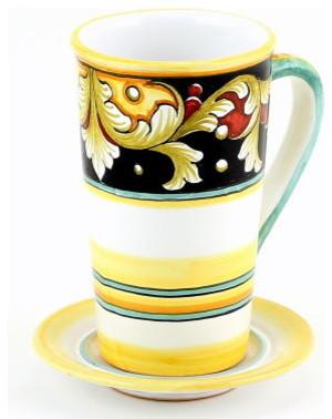 Deruta Vario: Tall Mug 16 Oz. with Saucer mediterranean-mugs