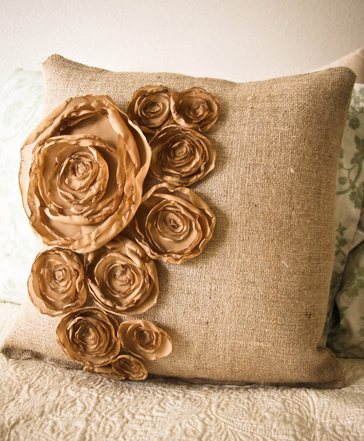 Autumn Inspired Burlap Pillow by Attic Haus modern pillows