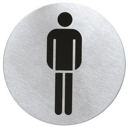Round Stainless Steel Restroom Sign Men 39 S Contemporary Bathroom Accessories Other Metro