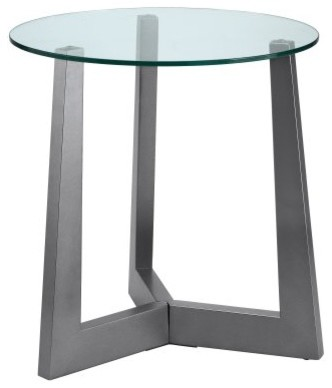 Stein World Rimini Round Silver Wood and Glass End Table - modern