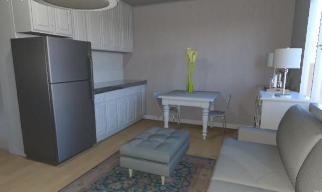 28m2 studio apartment rendering