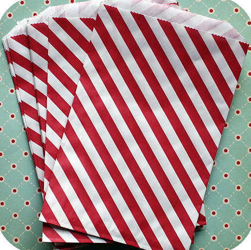 Red Diagonal Striped Bitty Bags modern food containers and storage