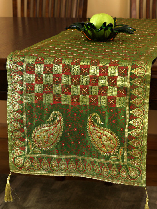 """Elegant Table Runners - One-of-a-kind table runner """"Golden Emerald"""". Very unique hand embroidered pattern with beautiful hand crafted design. Green Gold"""