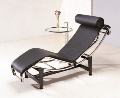 Le corbusier replica chaise black modern indoor for Black chaise lounge indoor