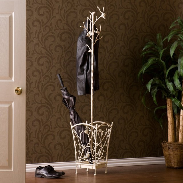 Bird And Branch Antique White Hall Tree Modern Coat