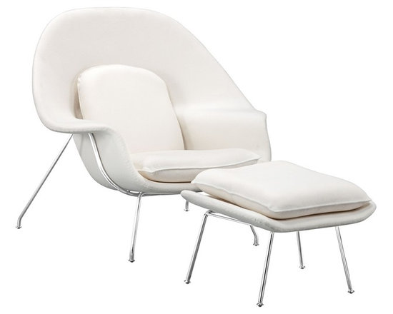 "Zuo - Zuo Nursery White Lounge Chair and Ottoman - Zuo Nursery White Lounge Chair and Ottoman Upholstered molded accent chair and matching ottoman. White fabric. Steel construction. Chrome finish metal base. Adjustable back pillow. Wide comfortable arms. Stylish comfortable seating. A beautiful addition to your home from Zuo Modern. Some assembly required. 39 1/2"" wide. 33"" deep. 37"" high.   Upholstered molded accent chair and matching ottoman.  White fabric.  Steel construction.  Chrome finish metal base.  Adjustable back pillow.  Wide comfortable arms.  Stylish comfortable seating.  A beautiful addition to your home from Zuo Modern.  Some assembly required.  39 1/2"" wide.  33"" deep.  37"" high."