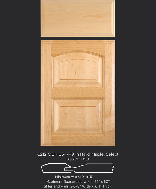 Maple Cabinet Door Style with Arched Top Rail - Traditional - Kitchen Cabinetry - other metro ...