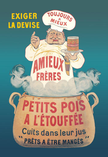 Amieux Freres - Petits Pois a lEtouffee 12x18 Giclee on canvas contemporary-prints-and-posters