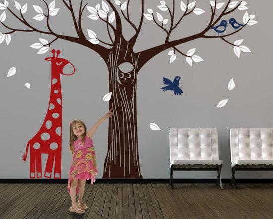 Giant Tree with Owl Giraffe and Birds - Original design © 2012 Wall Definition.