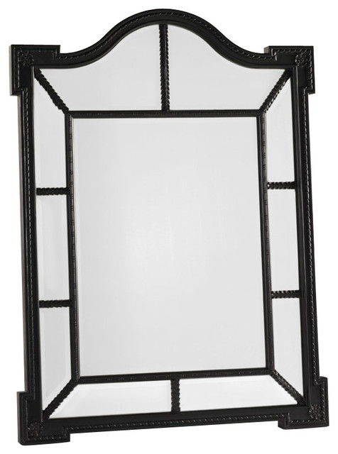 Henry Link Second Look Mirror in Vintage Black with Red Highlights transitional-mirrors