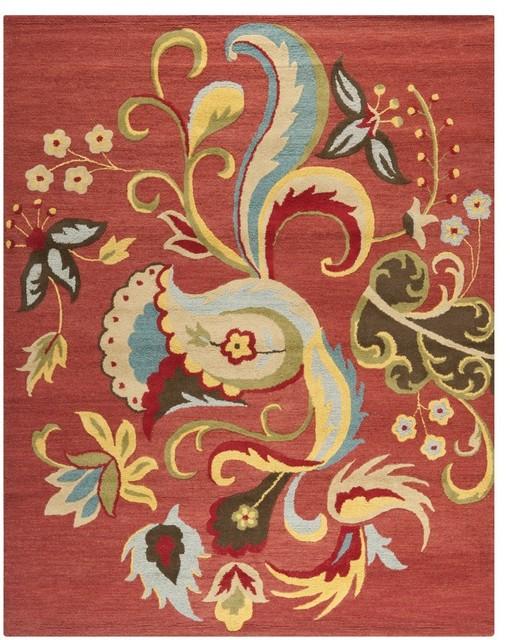 Safavieh Blossom BLM680B Rust Area Rug asian-carpet-tiles