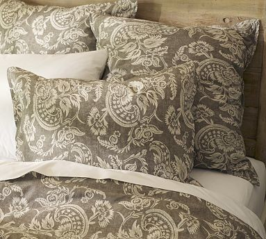 Alessandra Floral Reversible Sham, Euro, Gray traditional-pillowcases-and-shams