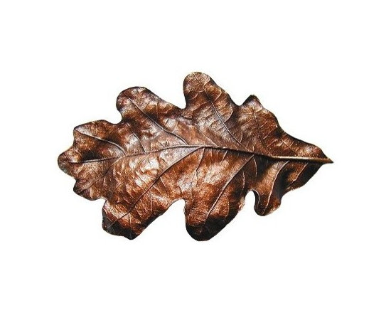 """Inviting Home - Oak Leaf Bin Pull (antique copper) - Hand-cast Oak Leaf Bin Pull in antique copper finish; 4-1/2""""W x 2-3/4""""H; Product Specification: Made in the USA. Fine-art foundry hand-pours and hand finished hardware knobs and pulls using Old World methods. Lifetime guaranteed against flaws in craftsmanship. Exceptional clarity of details and depth of relief. All knobs and pulls are hand cast from solid fine pewter or solid bronze. The term antique refers to special methods of treating metal so there is contrast between relief and recessed areas. Knobs and Pulls are lacquered to protect the finish."""