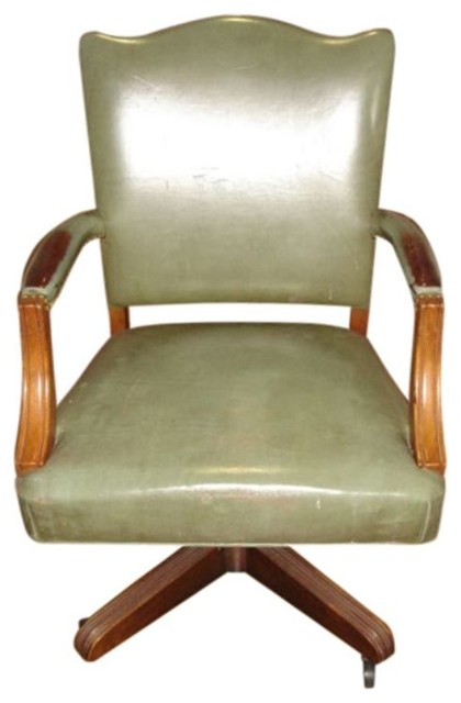 Stow Davis Swivel Wood and Leather chair