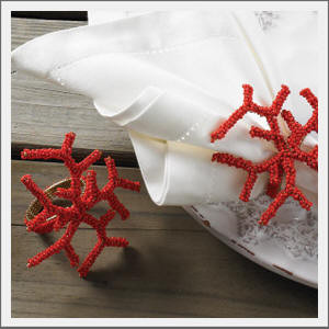 Coral Napkin Rings tropical napkin rings