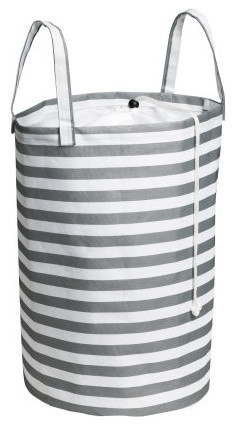 Laundry Bag, Gray/White contemporary-hampers