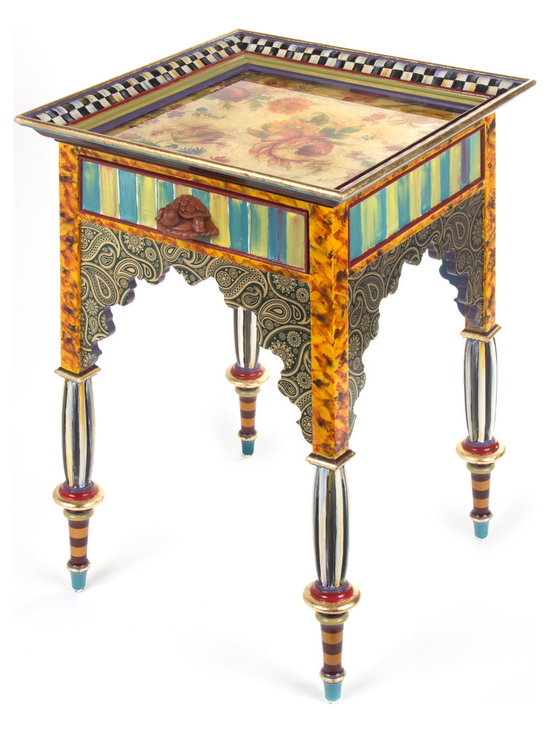 Teteria Side Table | MacKenzie-Childs - Our new tea table stands squarely midway between bohemian and opulent. Leave the plain scones behind; spice is the variety of life. Moorish architectural details, paisley decoupage, and gold luster with floral decals reverse-painted on glass framed by a handsome border molding, adorn our Teteria Side Table. A terra cotta turtle knob opens the drawer, which has a surprise velvet cheetah lining inside. Hand-painted in Aurora.