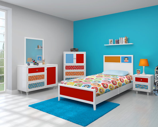 Kids Furniture - Colorful and exuberant, the Julius bedroom set is perfect for your little monkey. The bright prints and solids on the white framed bed, dresser, and night stand come alive with the face of fun-loving Julius. The bedroom-in-a-box also comes with a sturdy square mirror to make this the perfect furniture collection to decorate any child's room. With one box, you can have a complete Julius bedroom!