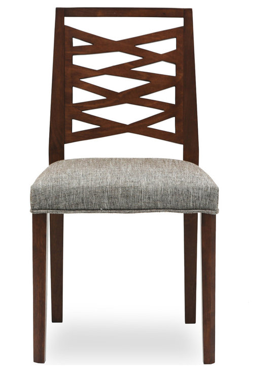 Bryght - Lina Coral Fabric Upholstered Cocoa Dining Chair - Take a seat on the Lina dining chair. Made of eco-friendly hardwood in a lovely cocoa stain, the Lina offers simplicity with versatility. Its modern, abstract and asymmetrical patterned back and padded seating is sure to provide comfort with a touch of oomph!