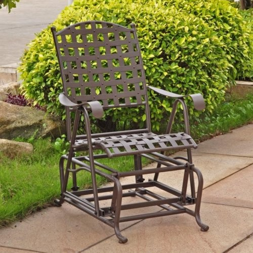 International Caravan Santa Fe Wrought Iron Single Patio Glider traditional-rocking-chairs