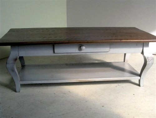 Rustic Coffee Table With Drawer & Shelf farmhouse-coffee-tables