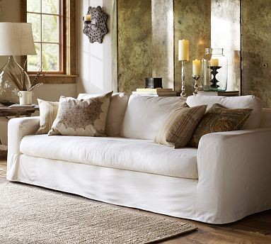 Solano Sofa Slipcover Washed Linen Cotton Silver Taupe