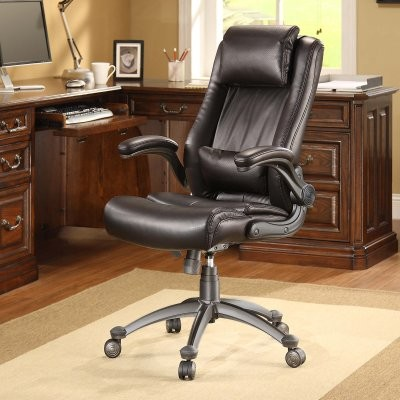 Whalen Flip-up Arm Leather Office Chair modern-task-chairs