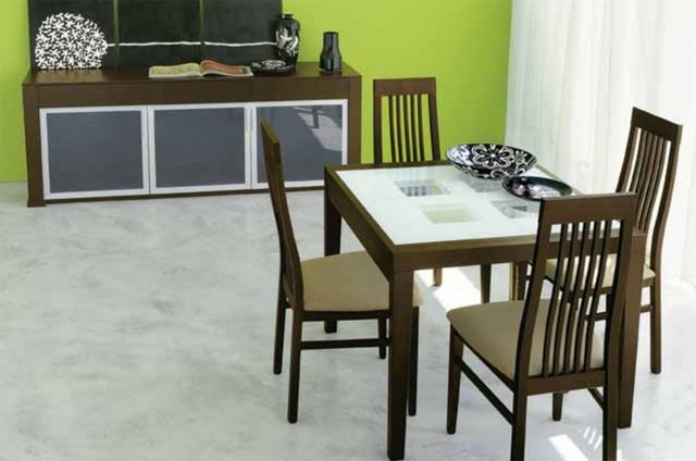 Extendable Wooden Italian Modern Dining Set contemporary-dining-tables