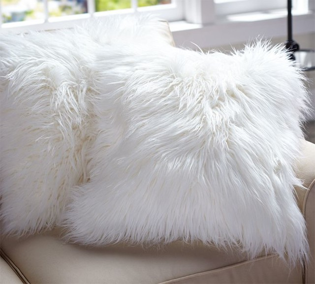 Faux Fur Pillow Cover Long Shaggy Contemporary