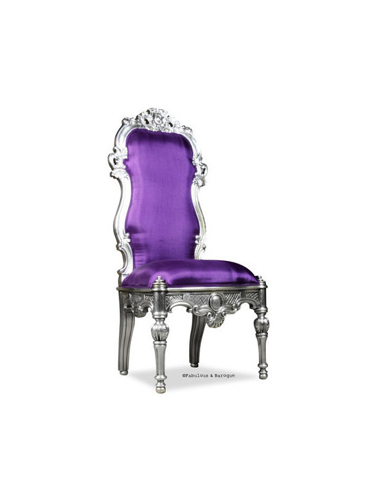 Noblesse Chair - Silver Leaf & Aubergine - This breathtaking high back chair is ornately carved and finished in opulent silver leaf and upholstered in beautiful aubergine silk. With it's intricately carved legs and the beautifully carved backrest, this chair will make a statement in any room.