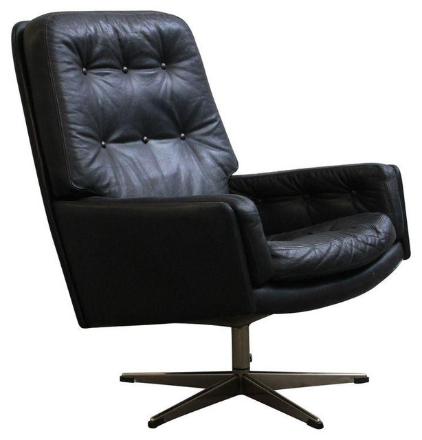 Danish Tufted Leather Vintage Swivel Lounge Chair 1 250 On