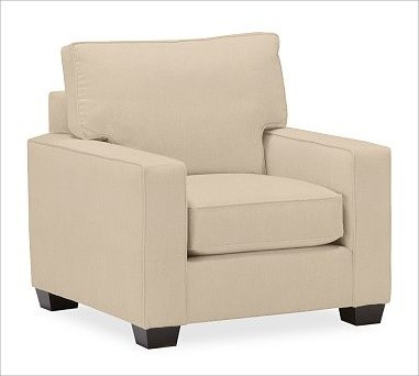 PB Comfort Square Upholstered Armchair, Down Blend Cushions, Textured Basketweav traditional-armchairs-and-accent-chairs
