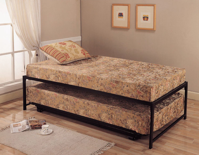 Roll Out Pop Up Steel Trundle Twin Bed Contemporary