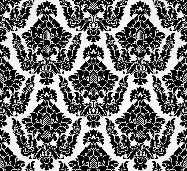 Edinburgh - Elegant Flocked Damask Wallpaper, Black, White ...Black And White Elegant Backgrounds