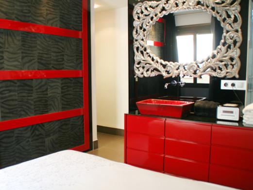 Mueble para bajo lavabo acabado lacado rojo brillo - Mueble bajo lavabo ...