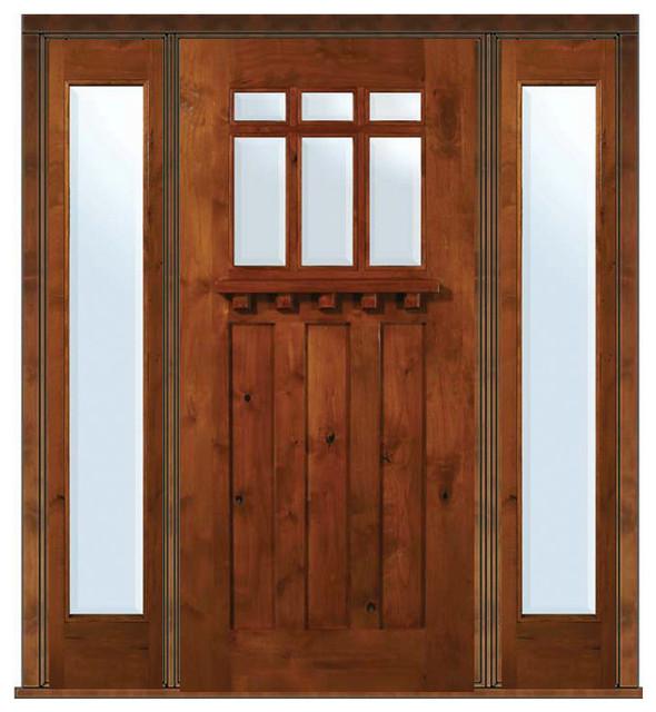 Prehung side lights door 80 alder craftsman 3 panel 6 lite for Front door 6 glass panel