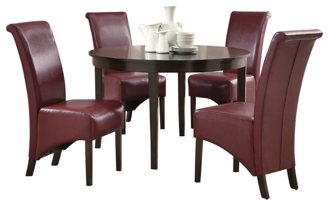 Monarch specialties 1740 1778by 5 piece round dining room for Traditional round dining room sets