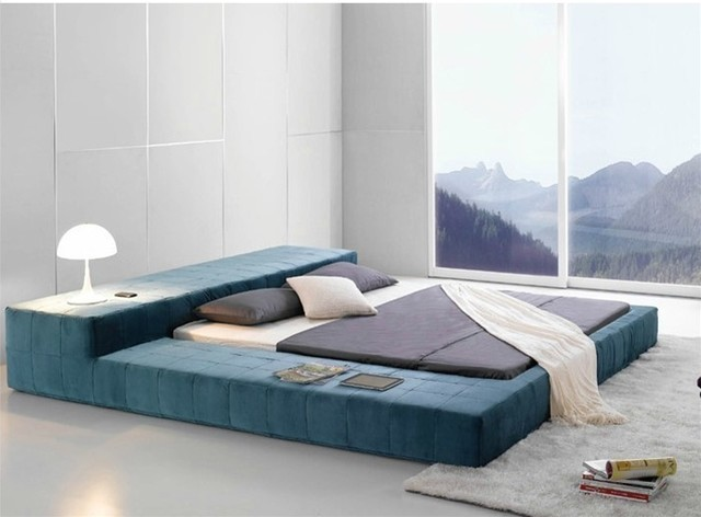 Opaq contemporary bed frame modern bedroom furniture for Floor bed frame