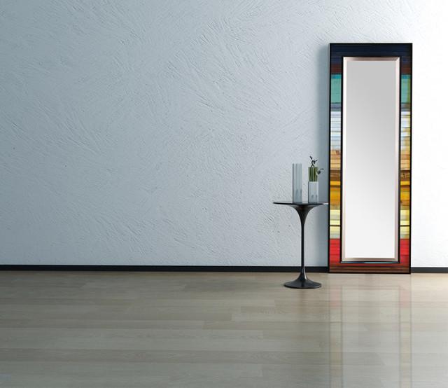 Reclaimed gradient reflection floor leaner mirror