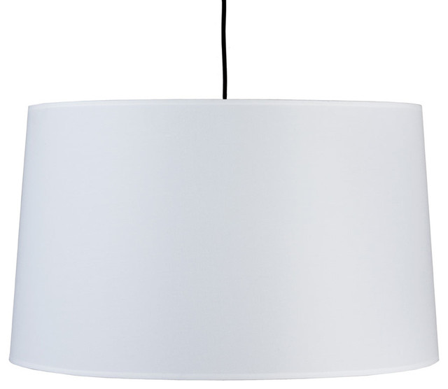 Weegee Pendant Lamp, White Linen Shade modern-pendant-lighting