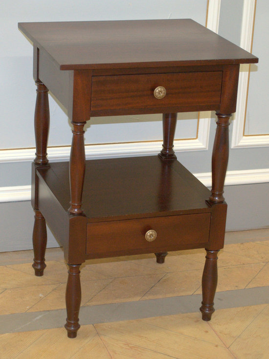 """Country Wash Stand - Two drawers and a lower shelf make this nightstand perfect for practical bedside storage! Shown in mahogany and also available in maple, tiger maple and cherry. Plenty of room for a lamp, phone, tablet, books and decorative objects.  20"""" x 20"""" x 30""""H (as shown)  Custom sizes available."""