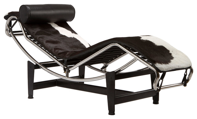 Chaise lounge chair in black white hide modern for Accent chaise lounge