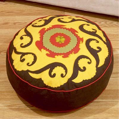 Round Suzani Pouff decorative-pillows