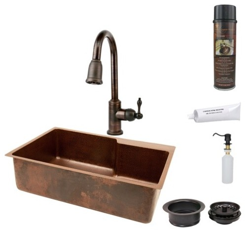 Hammered Single Basin Kitchen Sink with Space For Faucet, ORB Pull Down Faucet, modern-bath-products