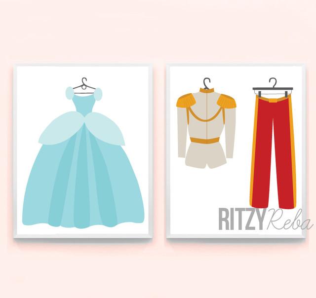 Girl's Nursery Art - Minimalist Disney Inspired Princess Cinderella and Prince contemporary-kids-decor