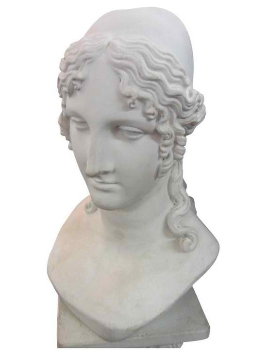 Goddess Minerva - Reconstituted marble bust of Roman Goddess, Minerva with pedestal. This is a classic, dramatic piece. It is pure white; the only shading occurs from the shadows of pronounced features associated with a woman of Roman lineage.This sculpture was created by molding composite crushed marble in the early 1900s.
